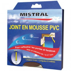 JOINT MOUSSE PVC MARRON 9MMX3MMX6M