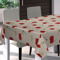 PROTEGE TABLE IMPRIME COQUELICOT 140CM
