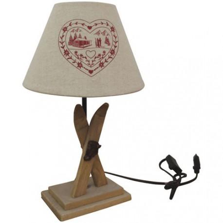 LAMPE PIED BOIS SKI+ABAT JOUR COEUR