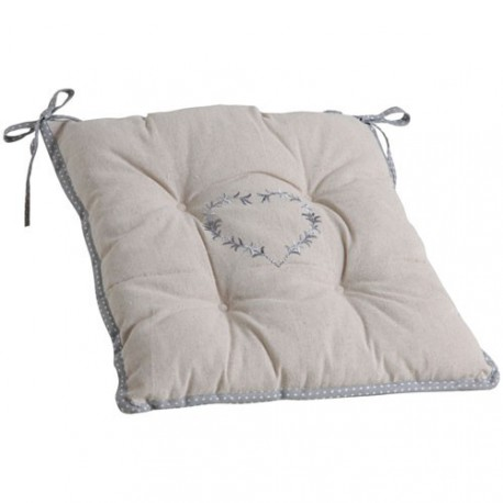 COUSSIN CHAISE COEUR GRIS