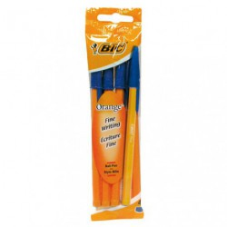 STYLO BIC ORANGE  SACHET/4 BLEU