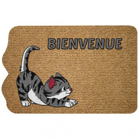 TAPIS DECOUP FLOCK CHAT BIENV. 40X60CM