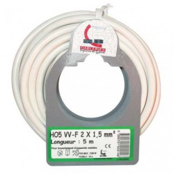 CABLE H05VVF 2X1.5  5M BLANC