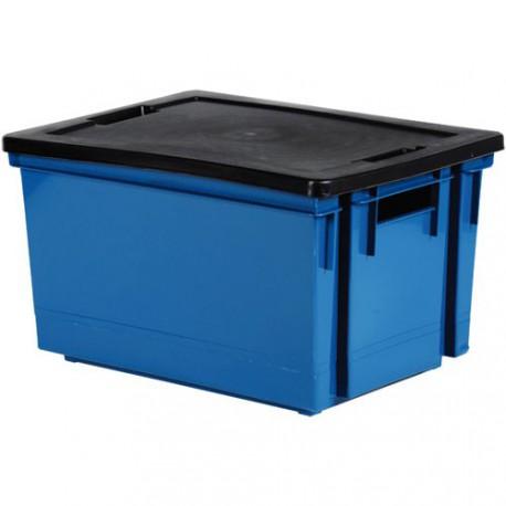 bac rang 20l bleu mineral couv noir maison de la droguerie. Black Bedroom Furniture Sets. Home Design Ideas