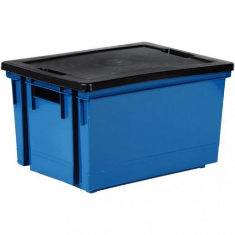 bac rang 10l bleu mineral couv noir maison de la droguerie. Black Bedroom Furniture Sets. Home Design Ideas