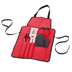 TABLIER ROUGE +6 ACCESSOIRES BARBECUE