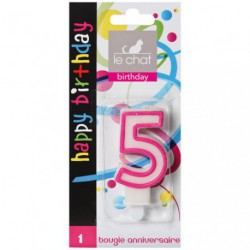 BOUGIE CHIFFRE ANNIVERSAIRE N 5 HAPPY