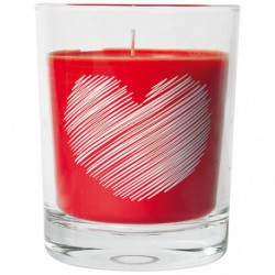 BOUGIE VERRE DECO COEUR FRUITS ROUGES